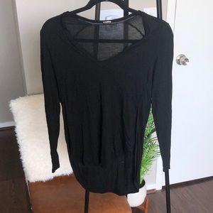 😊3/$20 Black Long Sleeved Split Hem Top